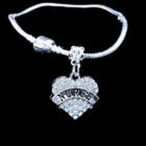 Glamorise Beads - Twirl crystal heart charm bracelet Baton Twirling Twirler best jewelry gift 2017