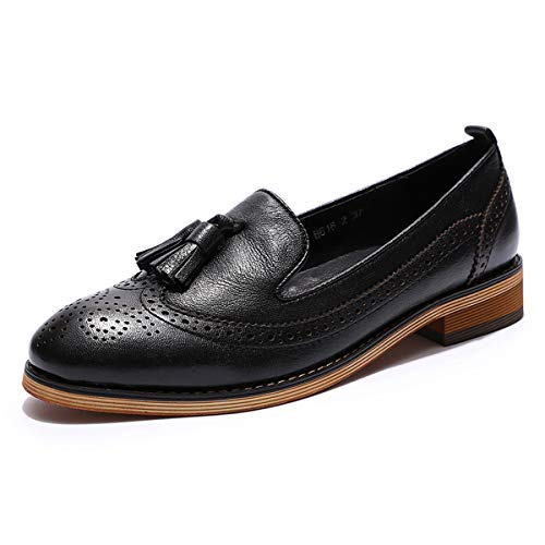 Mona flying Womens Leather Penny Loafer Casual Flat Shoes for Women Ladies Girls Black
