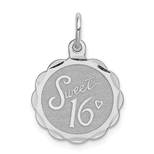 (925 Sterling Silver Sweet Sixteen Girl 16 Birthday Disc Pendant Charm Necklace Special Day Fine Jewelry Gifts For Women For Her)