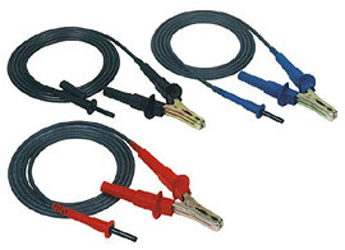 AEMC 2119.85 3-Piece Color-Coded Lead Set with Clip for 5000V Megohmmeter, 10' Length ()
