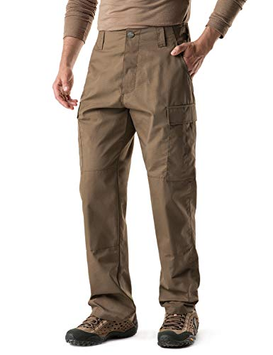 CQR Men's ACU/BDU Rip Stop Trouser EDC Tactical Combat Pants, Brigade Pants(ubp02) - Coyote, Large(W36-40)-Long