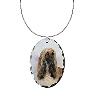 Canine Designs Afghan Hound Scalloped Edge Oval Pendant 3