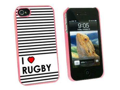 Graphics and More I Love Heart Rugby Snap-On Hard Protective Case for Apple iPhone 4/4S - Non-Retail Packaging - Pink