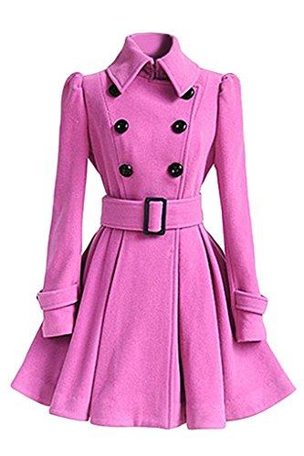 Minetom Mujer Inverno Chaqueta Larga Con Cinturón Cazadora Elegantes Abrigos Con Botones Rosa