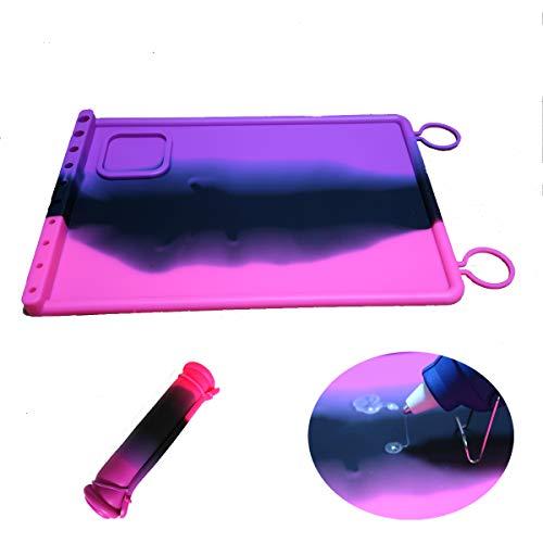 SHOR Premium Hot Glue Gun mat Non Stick Silicone Gluing mat, Silicone Mat for Glue Gun Reusable Glue pad (Pink, Black)