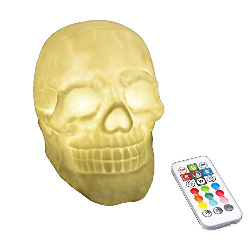 S-So Cool Night 3D Silicone Skull LED Pat Remote Control 7 Color Change Desk lamp for Halloween -