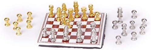 Schaken 1:12 Dollhouse miniatuur metalen schaakspel zilver en goud (intellectuele denkoefening)