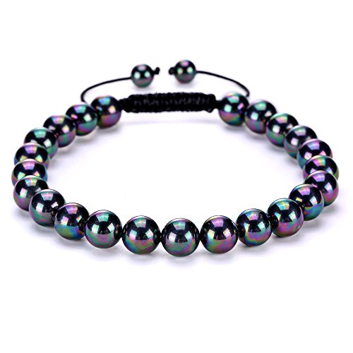 (BRCbeads Gemstone Bracelets Natural Colorful Shell Pearl Birthstone Healing Power Crystal Beads Handmade 8mm Stretch Macrame Adjustable Loose Beads With Gift Box Unisex)