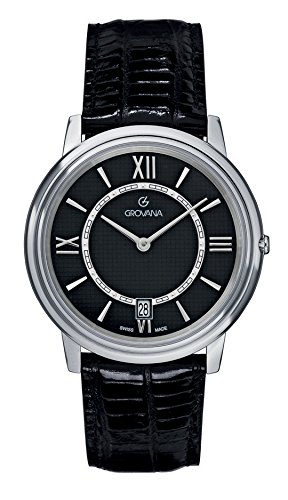 Grovana Men's 1708-1537 Traditional Analog Display Swiss Quartz Black Watch