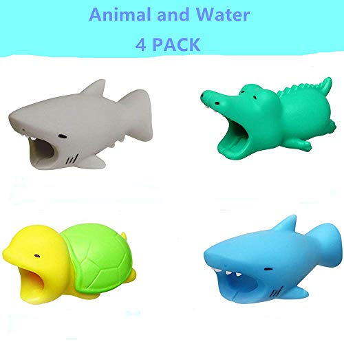 YMH Cable Protector iPhone iPad Cable Android Cord Plastic Cute Sea Animals Phone Accessory Protects USB Charger Data Protection Cover Chewers Earphone Cable Bite 4Pack (GCTB)