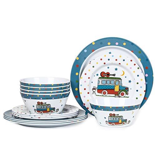 Dinnerware Set for 4, 12pcs Melamine Plates Bowls Set for Ou