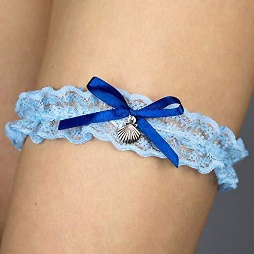 Strumpfband blau weiss Schlüssel Hochzeit Braut Brautkleid Unterwaesche Muschel Meer
