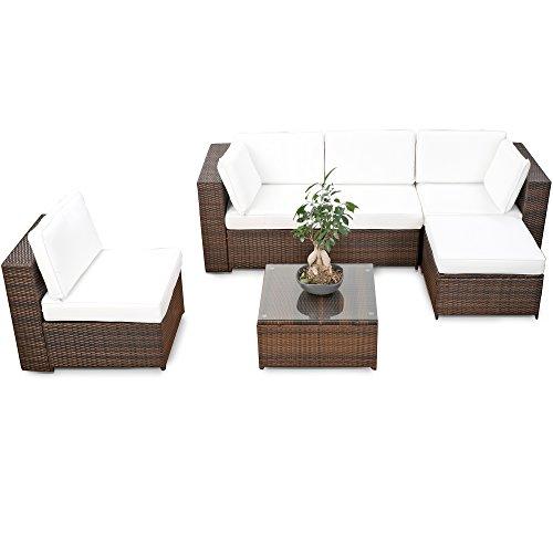 erweiterbares 18tlg. XXL Lounge Set Polyrattan - braun - Gartenmöbel Sitzgruppe Garnitur Lounge Möbel Set aus Polyrattan - inkl. Lounge Sessel + Hocker + Ecke + Tisch + Kissen