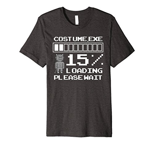 Mens Simple Halloween Costume Loading Robot Devil T Shirt Small Dark (Simple Nerd Halloween Costumes)