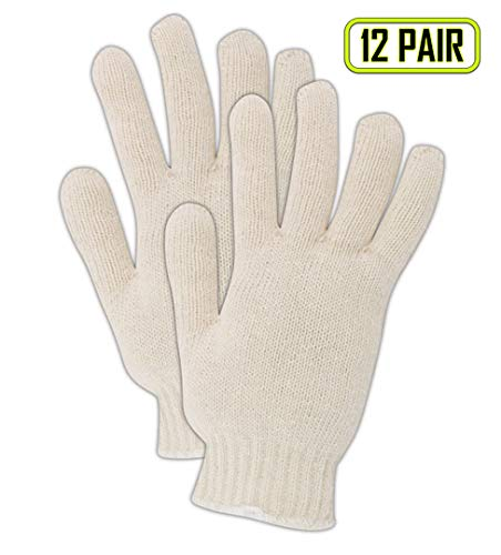 Magid Glove & Safety T143C-AMZN KnitMaster Lightweight Color Seamless Knit Gloves, Cotton Poly Blend, Ladies (Fits Medium), Natural (Pack of 12)