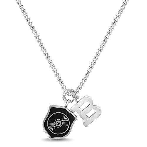 Ben Sherman Adjustable Men's Black Shield and B Charm Pendant Necklace on Rolo Chain in Stainless Steel, Silver