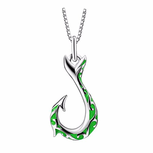 925 Sterling Silver Enamel Hawaiian Fish Hook Maori Tribal Vintage Pendant Necklace, Box Chain (Maori Fish Hook)