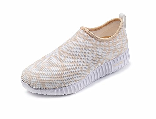 ONEMIX Womens Breathable Sneaker,Leisure Walking Running Shoes Gold