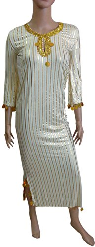 Belly Dance NANCY Stretchy Galabeya Dress Costume Baladi Saidi 405 (creamy x gold) - Egyptian Galabeya Costume