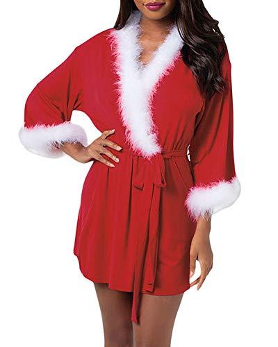 XAKALAKA Women Bathrobes Short Kimono Robe Christmas Nightwear Bridesmaids Sleepwear Red L -