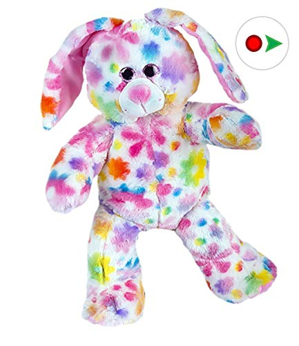 (Stuffems Toy Shop Record Your Own Plush 16 inch Rainbow Bunny - Ready to Love in A Few Easy Steps)