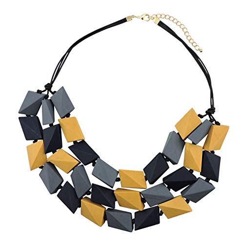 COIRIS 3 Layers Big Faceted Wood Beaded Strand Statement Necklace for Women Chunky Collar (N0018) (Gray + Dark Blue + Old Gold)