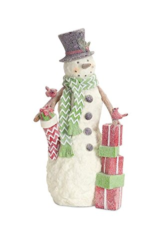 Diva At Home Set of 2 Frosted Christmas Snowman and Red Cardinal Tabletop Figurines 14""
