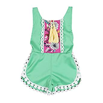 Newborn Baby Girls Ethnic Style Sleeveless Tassels Backless Floral Romper (0-3months, Green)