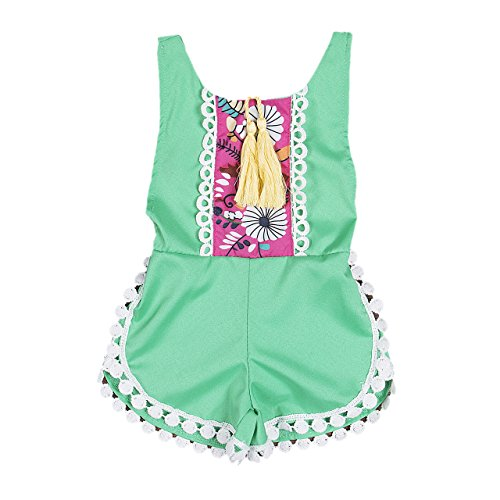 honeys Newborn Baby Girls Ethnic Style Sleeveless Tassels Backless Floral Romper(18-24months, Green) (20 Romper)