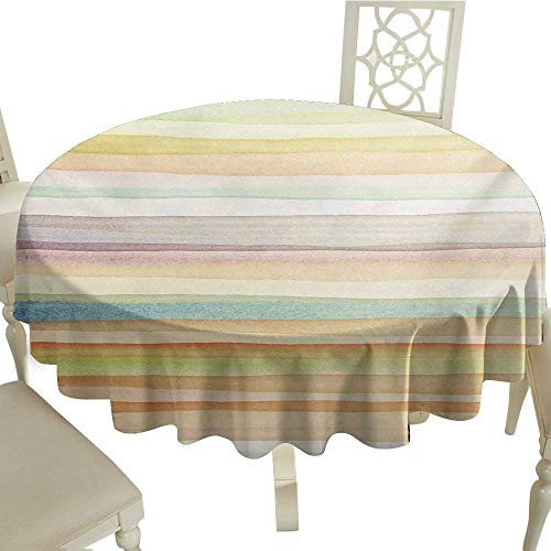 Round Tablecloth Pastel,Horizontal Watercolors Stripes Acrylic Artistic Elements Liquid Brushstrokes Print,Multicolor D54,for Umbrella Table