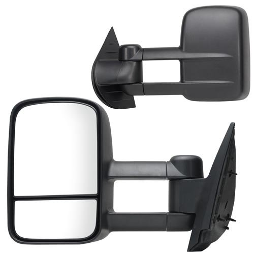 (Fit System 62077-78G Chevrolet/GMC/Cadillac Driver/Passenger Side Replacement Manual Towing Mirror Set with Dual Glass)