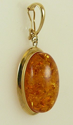 Amber Oval Pendant 14k Yellow Gold Enhancer by Vics Fine Jewelry (Image #2)