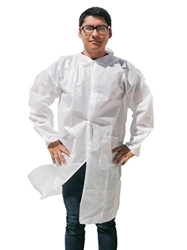 Makerspace Lab Disposable Lab Coats Adult XLarge 10 Pack | Durable Polypropylene, Comfy Fit, Elastic Cuffs, Front Snap Fasteners | For Classroom Science Labs, Science Parties, Medical, Biology, Dental - Extra Long Lab Coat