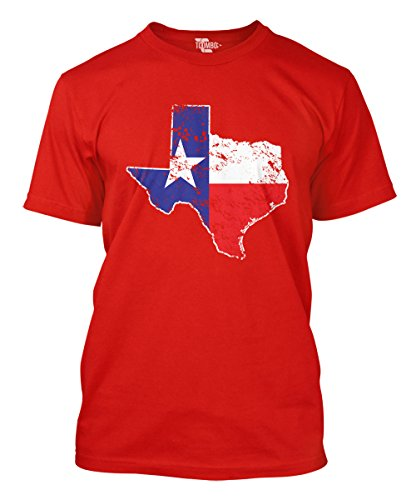 Texas State Map Men's T-shirt (Red, Small)