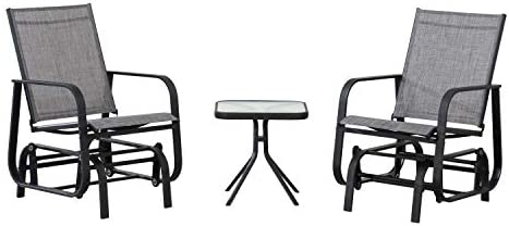 Amazon Basics 3-Piece Outdoor Patio Steel Glider Sling Chair Bistro Dining Set