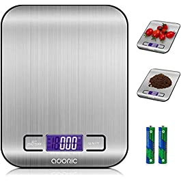 ADORIC Digital Kitchen Scale, High-precision Weighing Scales with Backlit LCD Display, Tare Function for Cooking, Baking & More (5KG/1g) – Silver
