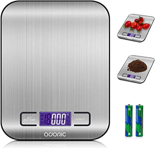 ADORIC Digital Kitchen Scales, Professional Electronic Scales with LCD Display, Incredible Precision up to 1 g (5 kg Maximum Weight), Silver