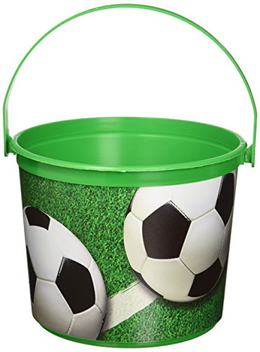 Amscan Soccer Theme Plastic Bucket Party Supplies , Green, 12 Pieces by Amscan