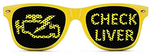 Check Liver Sunglasses - Funny Wayfarer Shades - Yellow - Outrageous Sunglasses