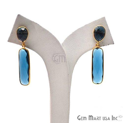 Iolite Earrings, Gold Plated Earrings, Dangle Earrings, Gold Post Earring, Iolite Studs Earrings, GemMartUSA (IOER-90230)
