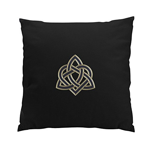 Suklly Fancy Black Celtic Trinity Heart Knot Hidden Zipper Home Sofa Decorative Throw Pillow Cover Cushion Case Square 20x20 Inch Two Sides Design Printed Pillowcase