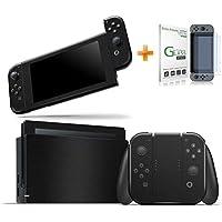 Kit Skin Adesivo Protetor Nintendo Switch + Película de Vidro (Preto Premium)