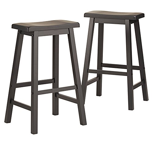 ModHaus Living Set of 2 Charcoal Black Country Style Saddle Back Solid Wood Bar Stool - Bar Height Includes (TM) Pen