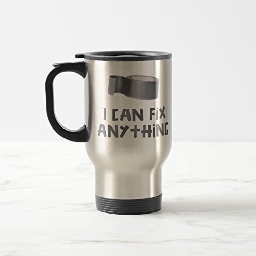Zazzle I Can Fix Anything with Duct Tape Travel Mug, Stainless Steel Travel/Commuter Mug 15 oz by Zazzle