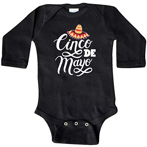 inktastic - Cinco De Mayo Hand Lettered Long Sleeve Creeper 6 Months Black 34d1e
