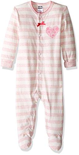 Kushies Baby Girls' Front Snap Sleeper, Light Pink Stripe/Heather, 03M