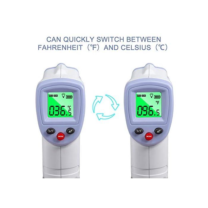 41SzdfF8PLL 【PRECISO Y RÁPIDO】 El termómetro de cuerpo infrarrojo sin contacto ha sido probado para precisión (desviación de medición ≤ ± 0.2 grados) y confiabilidad. Solo necesita presionar un botón cuando use este termómetro digital de frente, luego proporcionará una temperatura precisa al instante en 1 segundo. 【SIN CONTACTO】 No necesita ponerse en contacto con el cuerpo cuando use este termómetro. Se puede detectar dentro de una distancia de 2 cm a 5 cm. 【SEGURO E HIGIÉNICO】 Termómetro infrarrojo LCD digital sin contacto, pantalla más clara, más segura y más conveniente. En comparación con el termómetro de mercurio, no hay peligro de romper el vidrio o tragar mercurio.