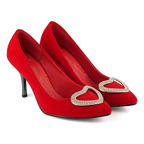 Imitated Red Toe Shoes Spikes On Pumps Women's Pull Stilettos WeenFashion Pointed Closed Suede YxwOqq74