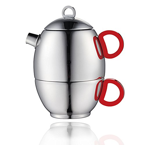 [Minos Stunning Polished Teapot And Cup For One Set - 8.5 OZ - Stainless Steel And Silicon Handle] (Hitler Costume Ideas)