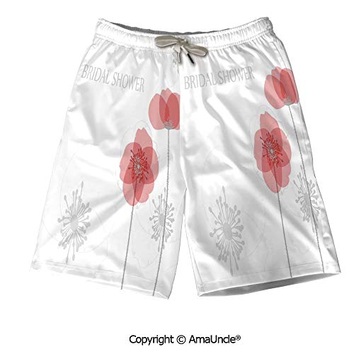 Printed Poppies Modern (AmaUncle Summer 3D Printed Beach Shorts for Men,Modern Poppy Flower Buds Abstract Shadow)